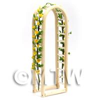 Yellow English Climbing Roses On A Miniature Wood Arch
