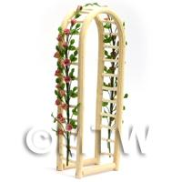 Pale Red English Climbing Roses On A Miniature Wood Arch