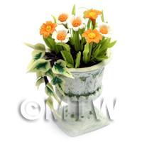 Dolls House Miniature Orange Flowers In an Urn