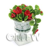 Dolls House Miniature Red Flowers In an Urn