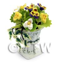Dolls House Mixed Miniature Flowers In an Urn