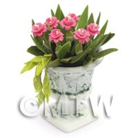 Dolls House Miniature Deep Pink Flowers In an Urn