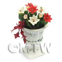 Dolls House Miniature Red and White Flowers In an Urn