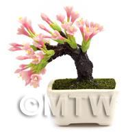 Dolls House Miniature Pink Flower Bonsai Tree