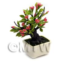 Dolls House Miniature Dark Pink Flower Bonsai Tree