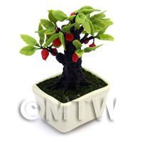 Dolls House Miniature Red Fruit Bonsai Tree