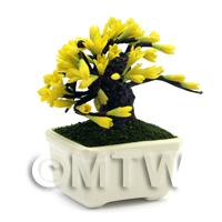 Dolls House Miniature Yellow Flower Bonsai Tree