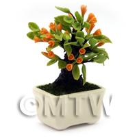 Dolls House Miniature Orange Flowers Bonsai Tree