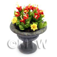 Dolls House Miniature Red and Yellow Flowers in Roman Urn
