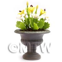 Dolls House Miniature White and Yellow Flowers in Roman Urn