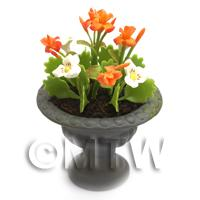 Dolls House Miniature White and Orange Flowers in Roman Urn