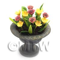 Dolls House Miniature Red and Yellow Roses in a Roman Urn