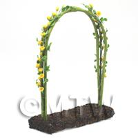 Yellow English Climbing Roses On A Miniature Wire Arch