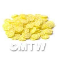 50 Transparent Lemon Nail Art Cane Slices (NS16)
