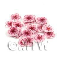 50 Earthy Red Flower Nail Art Cane Slices (NS17)
