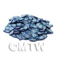 50 High Impact Blue Leaf Nail Art Cane Slices (NS18)