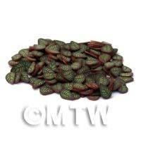 50 Fimo Green and Copper Leaf Cane Slices (NS20)