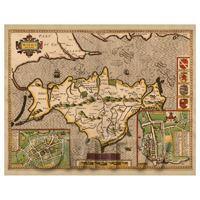 Dolls House Miniature John Speed Aged Isle Of Wight Map