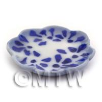 Dolls House Miniature 25mm Blue Spotted Edged Plate