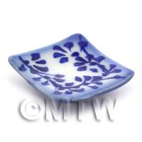 Dolls House Miniature 29mm Blue Spotted Square Plate