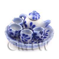 Dolls House Miniature Blue Spotted Tea Service