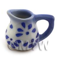 Dolls House Miniature Tradtional Blue Spotted Rounded Jug