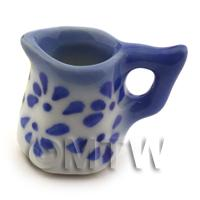 Dolls House Miniature Traditional 6 Sided Blue Spotted Jug