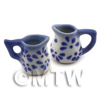 Dolls House Miniature Mixed Style Blue Spotted Jug Set