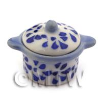 Dolls House Miniature Blue Spotted Oven Pot