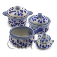 Dolls House MIniature Set of Blue Spotted Kitchen Pots and Pans