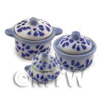 3 Dolls House Miniature Blue Spotted Kitchen Pots