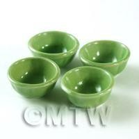 4 Dolls House Miniature Green 23mm  Bowls