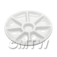 50mm Dolls House Miniature White Ceramic 8 Section Party Platter