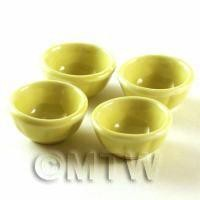 4 Dolls House Miniature Yellow 24mm Bowls