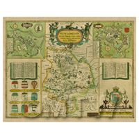 Dolls House Miniature John Speed Aged Huntingdonshire Map