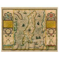 Dolls House Miniature John Speed Aged Isle Of Man Map
