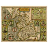 Dolls House Miniature John Speed Aged Lancaster Map