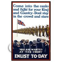 Dolls House Miniature - You Are Wanted At The Front - Miniature WWI Poster