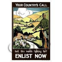 Your Countrys Call - Miniature WWI Poster