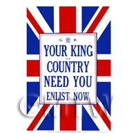 King And Country Need You - Miniature WWI Poster