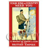 For King And Country - Miniature WWI Poster