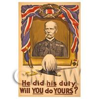 He Did His Duty - Miniature WWI Poster