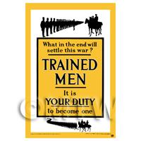 Trained Men It Is Your Duty - Miniature WWI Poster