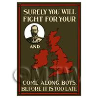 Surely You Will Fight - Miniature WWI Poster