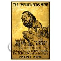 The Empire Needs Men - Miniature WWI Poster