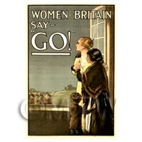 Woman Of Britain Say Go! - Miniature WWI Poster
