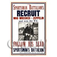Sportsman Battalions Recruit - Miniature WWI Poster