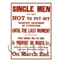Single Men Voluntary Enlistment - Miniature Dollshouse WWI Poster