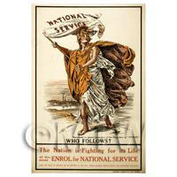 National Service - Who Follows? - Miniature WWI Poster
