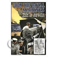 Join The Royal Marines - Miniature Dollshouse WWI Poster